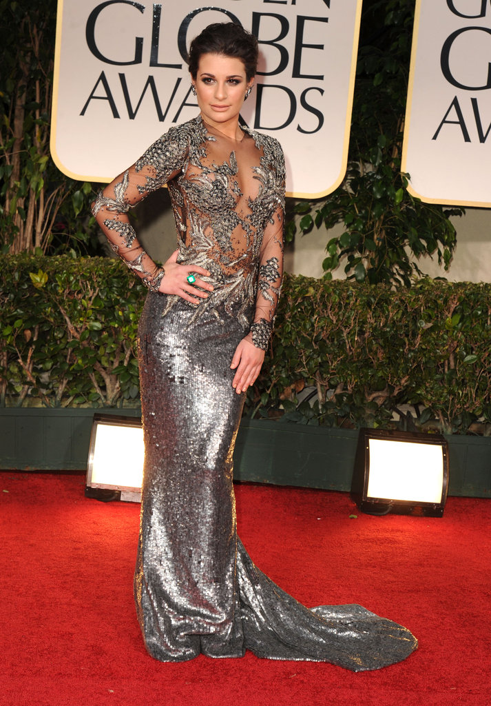 Lea Michele kept it close to the body — with an embellished sheer bodice only helping her case — in metallic Marchesa at the Golden Globes.