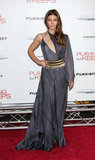 Jessica Biel looked nothing short of sultry in an asymmetrical Versace creation at the NYC premiere of Playing For Keeps.