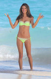 Alessandra Ambrosio smiled while working in St. Barts.
