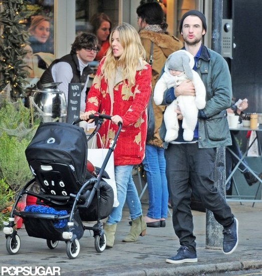 Sienna Miller and Tom Sturridge walked around London with daughter Marlowe Sturridge.
