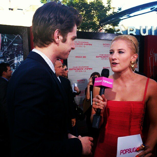 Andrew Garfield was game to go live as we covered The Amazing Spider-Man red carpet in real time.