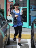 Pregnant Jenna Dewan headed to her car after hitting the gym in LA.