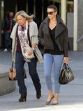 Charlize Theron and her mom went to a movie.