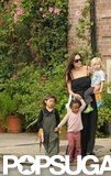 In October 2008, Angelina Jolie took a walk with Shiloh, Pax, and Zahara.