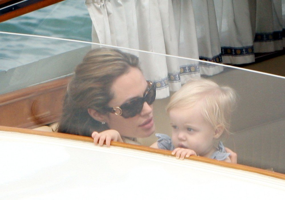 Angelina Jolie and Shiloh admired the view while taking a water taxi in Venice, Italy, in September 2007.
