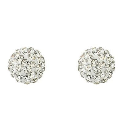 Molly Glitz White Crystal Ball Earrings