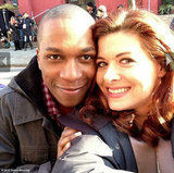 Debra Messing posed with her Smash costar Leslie Odom Jr. Source: Debra Messing on WhoSay