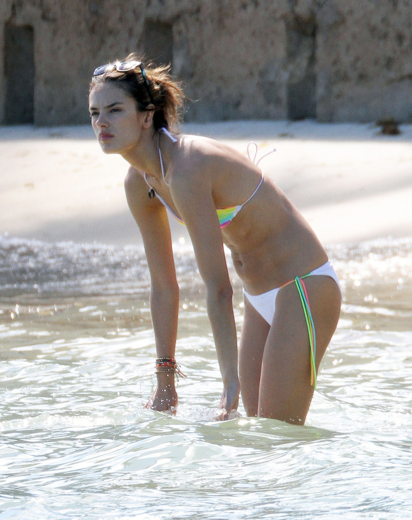 Alessandra Ambrosio took a dip in the ocean.