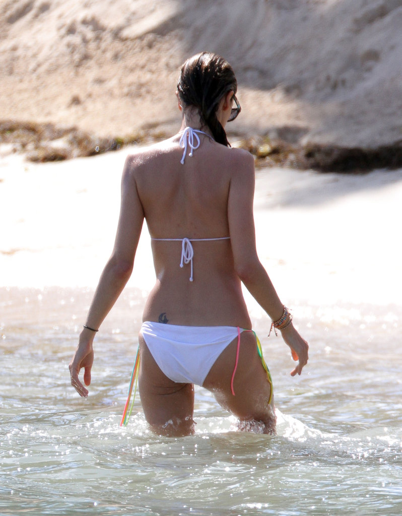 Alessandra Ambrosio waded in the waves.