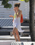 Alessandra Ambrosio sported a cover-up.