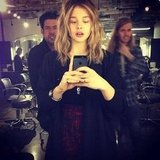 Chloë Moretz got a new hair color on set. Source: Instagram user cmoretz