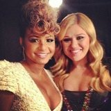 Christina Milian ran into Kelly Clarkson behind the scenes of The Voice. Source: Instagram user christinamilian