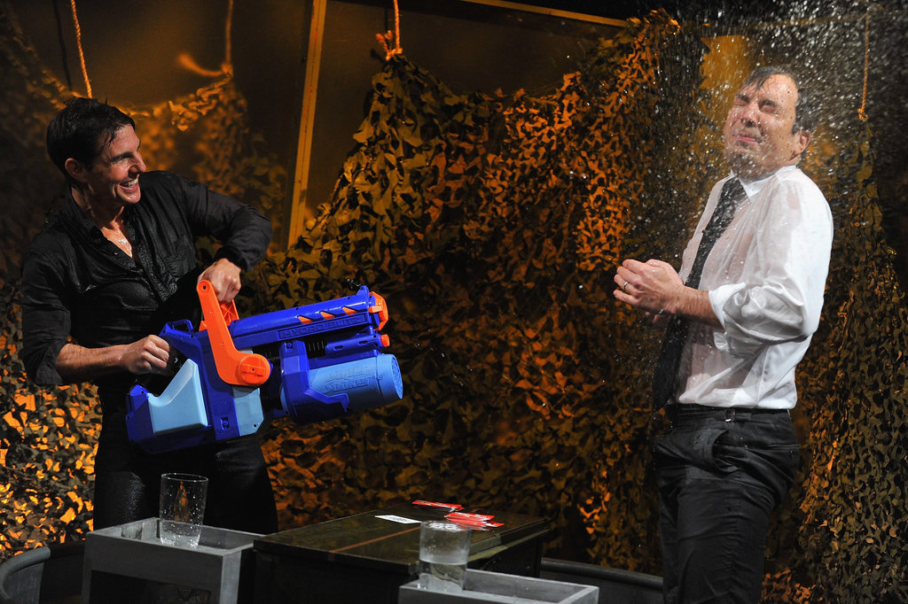 Tom Cruise and Jimmy Fallon played a water-drenching game.