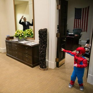 Obama With Spiderman Picture