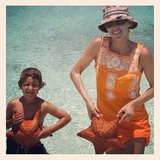 Tory Burch and her son held starfish while on vacation. Source: Instagram user toryburch