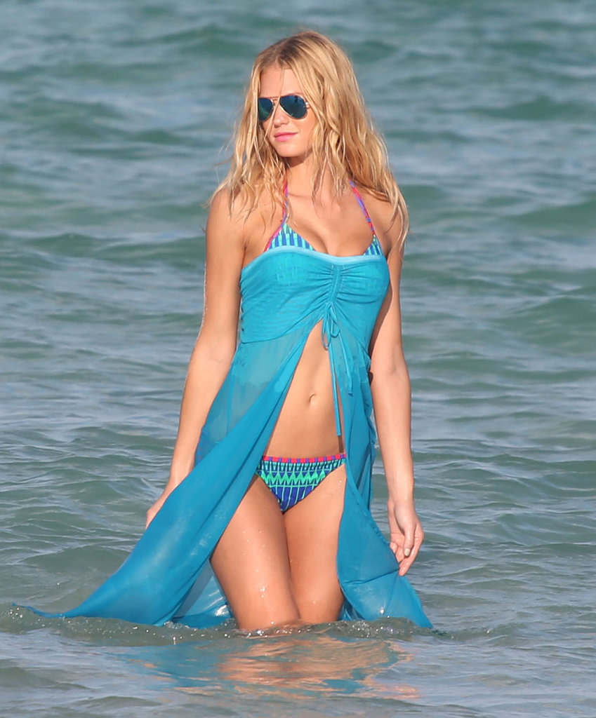 Erin Heatherton splashed in the water in a bikini.