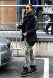 Alicia Keys paired her Isabel Marant sneakers with camouflage pants and a slick leather blazer.