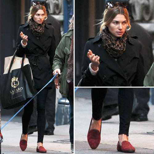 Jessica Hart in Leopard Scarf and Red Loafers in NYC