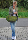 Her green suede Céline popped against her casual daytime ensemble.  Source: Lookbook.nu