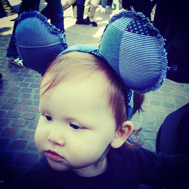 Haven Warren sported adorable denim Mickey Mouse ears during a trip to Disneyland. Source: Instagram user cash_warren