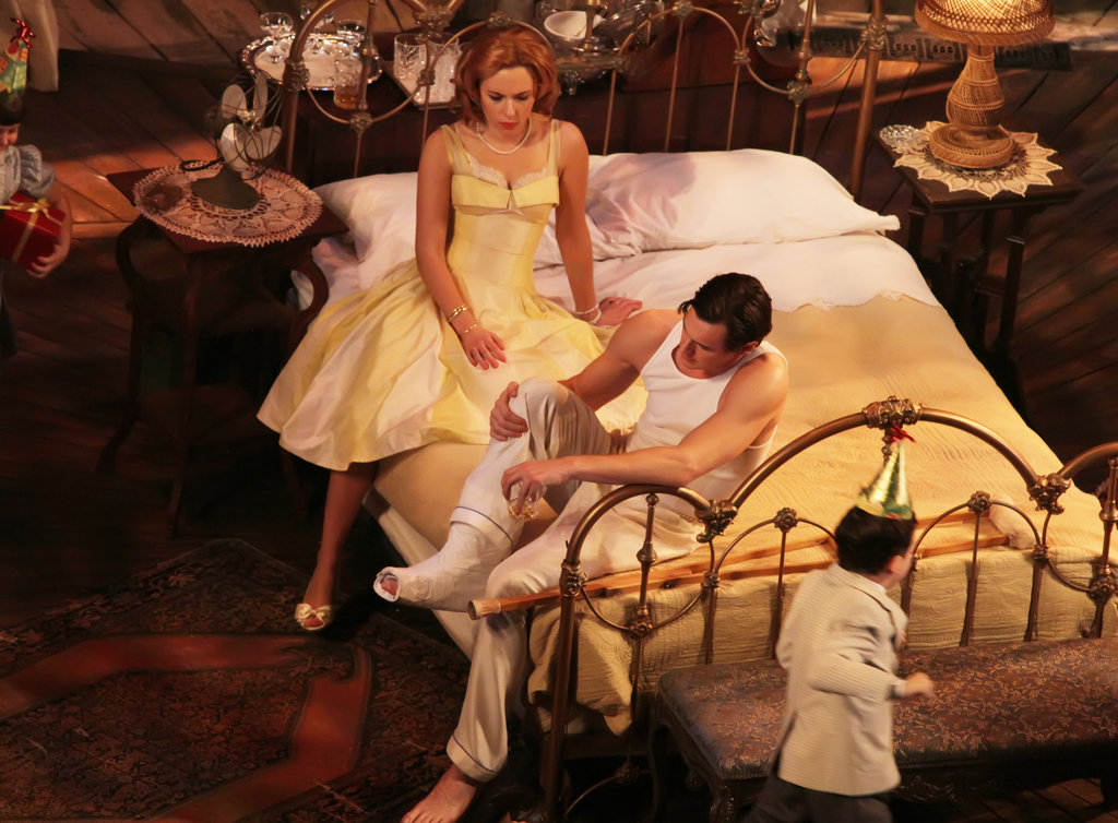 Scarlett Johansson laid on a bed for her Broadway show.