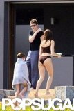 Stephanie Seymour hung out with her kids Lily Brant and Peter Brant II.