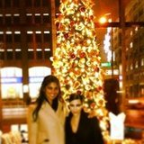 Kim Kadashian and Rachel Roy posed for a photo in front of a very tall Christmas tree. Source: Instagram user kimkardashian