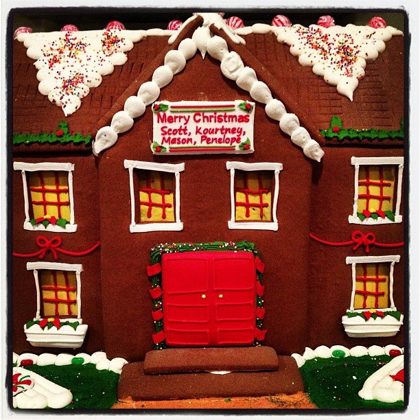 Kourtney Kardashian took a photo of her personalized gingerbread house. Source: Instagram user kourtneykardash