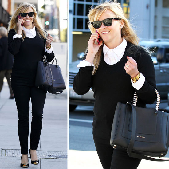 Reese Witherspoon's Cap-Toe Pumps and Bulgari Bag in LA