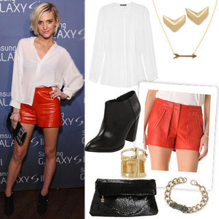 Ashlee Simpson Wearing Red Leather Shorts (Shopping)