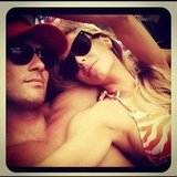 Bikini-clad Jen and Jake lounged around in December 2012. Source: Instagram user jenhawkins_