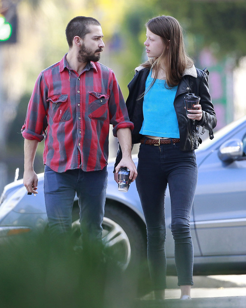 Shia LaBeouf and new girlfriend Mia Goth shared a look of love.