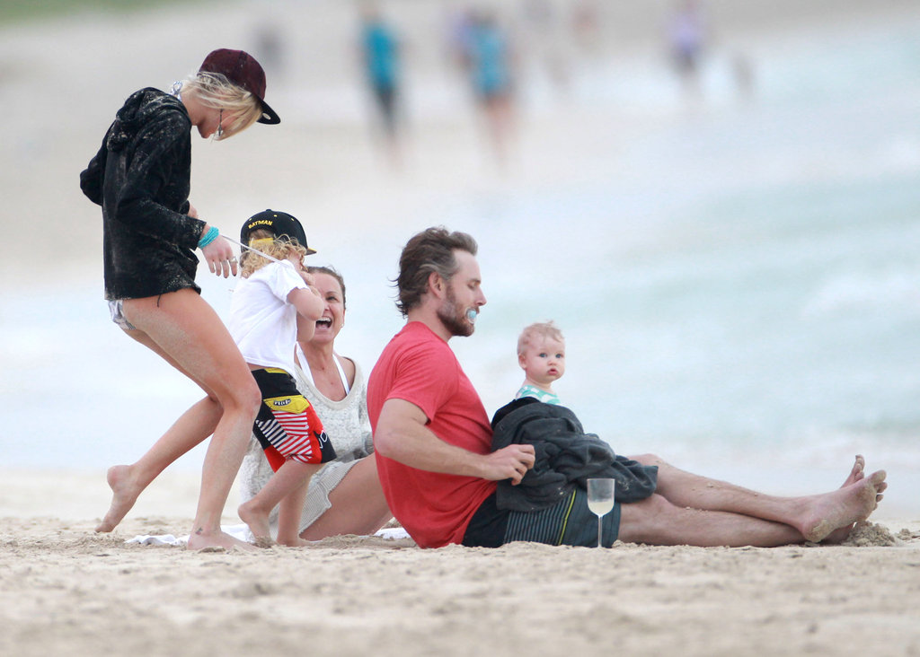 Eric and Maxwell Johnson Hit the Beach With the Simpson Clan