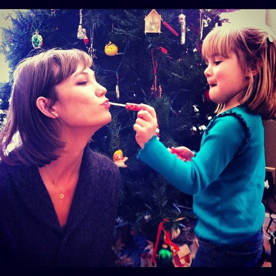 Karlie Kloss got some makeup help from a little friend. Source: Instagram user karliekloss