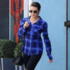 Lea Michele Wearing Plaid Shirt