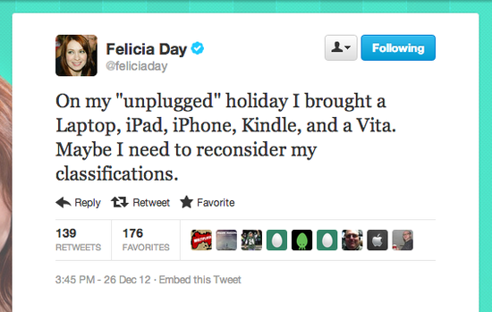 Maybe we could entice Geek & Sundry's Felicia Day with a digital detox retreat.