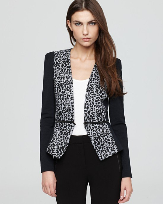 This Rebecca Taylor leopard knit blazer ($350) is the perfect way to ease into prints because its sleeves are solid. The coolest part? You can remove the bottom part to create a cropped look.