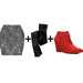 We love the idea of a printed miniskirt with black opaque tights and  punchy red booties — here's what it looks like. 