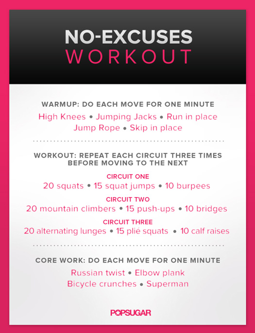 Body Weight Workout For Women Poster Popsugar Fitness