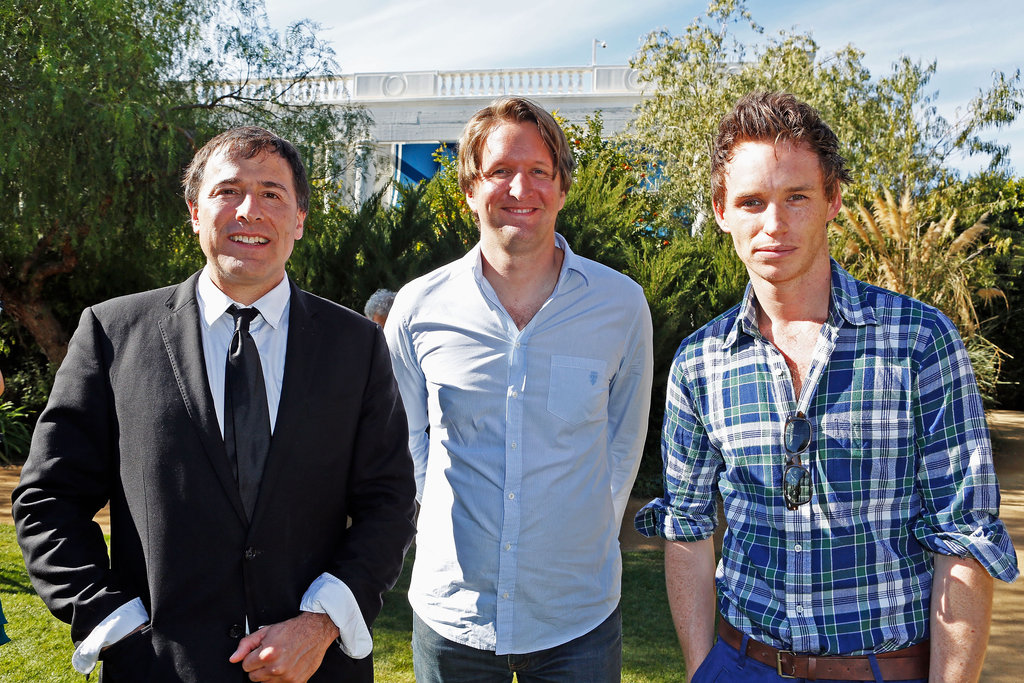 Tom Hooper, Eddie Redmayne, and David O. Russell took a photo.