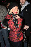 Christina Aguilera watched Jay-Z and Coldplay perform in Brooklyn.