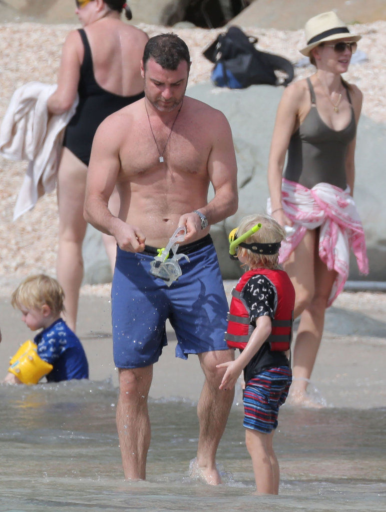 Liev Schreiber helped his sons, Samuel and Kai Schreiber, get ready to swim.