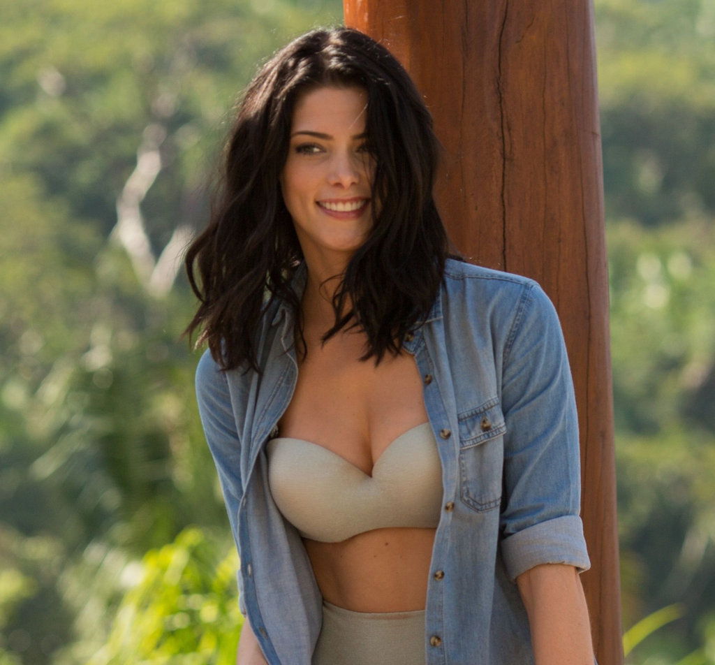 Ashley Greene wore a denim shirt over her retro bikini.