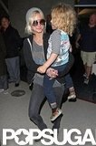 Ashlee Simpson held on tight to Bronx Wentz.