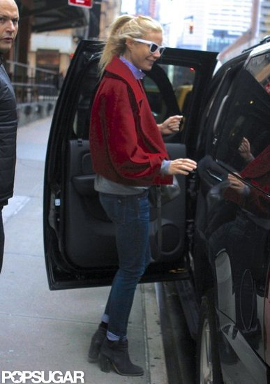 Gwyneth Paltrow wore a red jacket on New Year's Day.