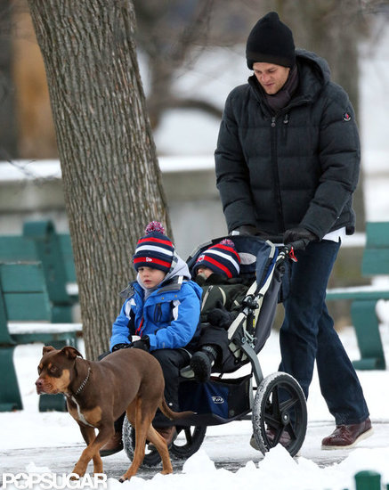 Tom Brady took his boys and his dog, Lua, out for a walk.