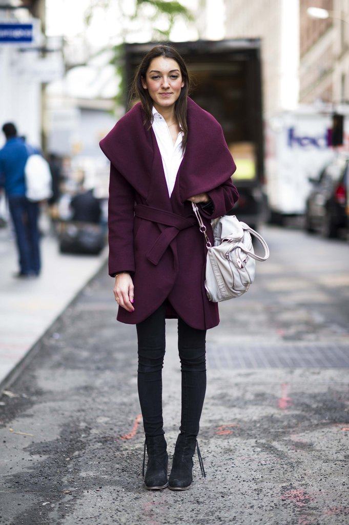 Rich plum hues make this statement-collar coat even more dramatic, in all the right ways. Source: Adam Katz Sinding