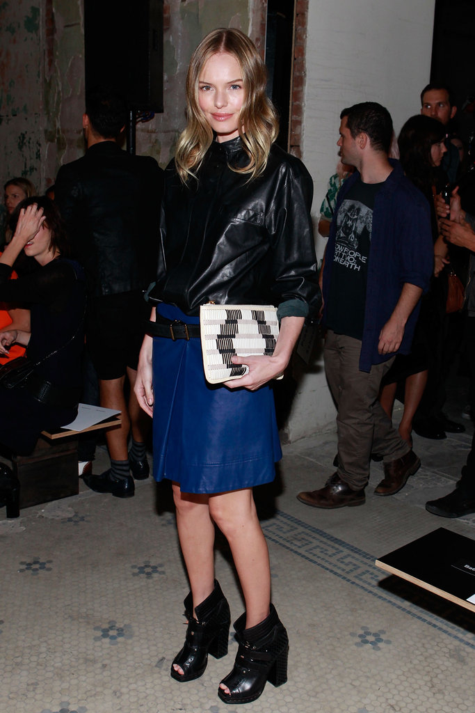 Kate showed up to support one of her favorite brands, Proenza Schouler, at their runway show during New York Fashion Week in September 2012. She was the picture of downtown cool in a leather top and royal-blue skirt, which she paired with black ankle boots and a printed clutch.