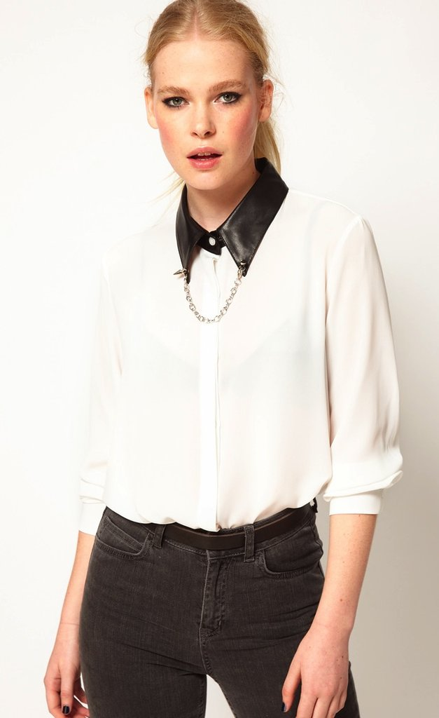 Edge things up in this Sister Jane faux leather collar blouse ($95), then to soften your look, sport a flowy maxi skirt.