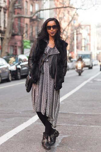 Just tights and a leather jacket make a floaty dress wintertime-chic. Source: Adam Katz Sinding